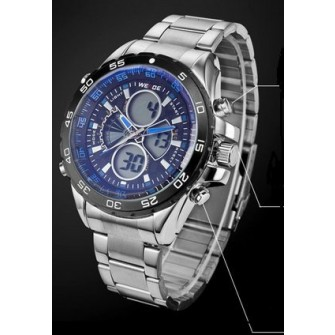 Weide Mens Numeric Display and Analog Dual Display Sport Military Stainless Steel Alarm Quartz Wrist Watch (Blue Hands)