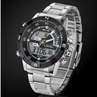 Weide Mens LED & Analog Dual Time Display Mode Sport Military Stainless Steel Quartz Movement Wrist Watch (Black)