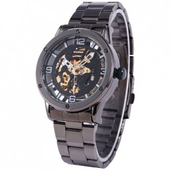 SHENHUA Transparent Mens Black Skeleton Automatic Mechanical Stainless Band Steel Wrist Watch PMW137