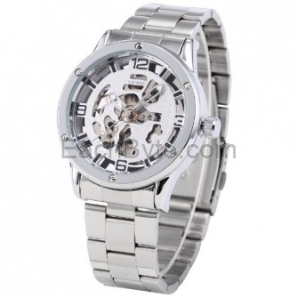 SHENHUA Transparent Men Silver Skeleton Automatic Mechanical Wrist Watch PMW134