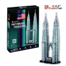 Free Shipping!diy 3d Puzzle Paper Model Petronas Twin Towers in Kuala Lumpur 82pcs Home/office Decoration