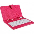 Leather Case with Keyboard and USB 2.0 for 7 inch Tablet PC with Cartoon Pattern (Plum, with Magnetic Buckle)