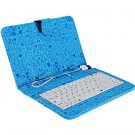 Leather Case with Keyboard and USB 2.0 for 7 inch Tablet PC with Cartoon Pattern (Blue, with Magnetic Buckle)