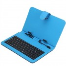 Stylish 7 Inch Micro USB Keyboard Leather Case for 7 inch Tablet with Stylus (Blue)