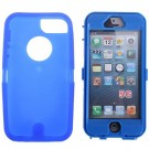 Fashion Dustproof Design Detachable Plastic and Silicone Hybrid Case Cover for iPhone 5 (blue)