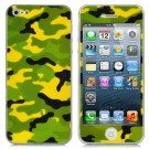 Camouflage Style Protective Front + Back Skin Sticker Protector for iPhone 5 - Green + Yellow