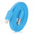 8-Pin Lightning Male to USB Male Charging & Data Flat Cable for iPhone 5 + More - Blue (100cm)