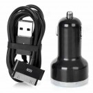 Dual USB Car Cigarette Lighter Charger w/ 30Pin Data Cable for iPhone 4 / iPad - Black