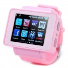 I5 GSM Watch Phone w/1.8-inch Resistive Screen, Quadband, Single SIM, Java And FM - Pink