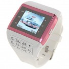 Q5 Watch Style 1.3-inch Touch Screen Single SIM Quadband GSM Cell Phone - White + Red