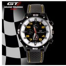 F1 Racing Grand Touring Men`s Military Army Style Yellow Sports Watches Analog Quartz Black Silicone Strap Yellow White Color