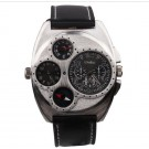 Hungary Army Adventure dual movt Men Military Wrist Watch Leather Thermometer Color Black