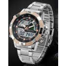 Weide Mens LED & Analog Dual Time Display Mode Sport Military Stainless Steel Quartz Movement Wrist Watch (Rose Gold)