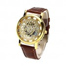 OYang Non Mechanical Hollow Roman Numerals Leather Band Wrist Watch Golden Dial Watch Brown