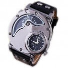 Oulm Men's Dual Time Zone Stainless Steel Case Leather Strap Watch (Whole Black)
