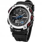 OHSEN LCD Dual Core Mens Sport Date Day Silver Tone Stopwatch Black Rubber Watch OHS050
