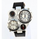 Oulm Fashion Metal Dial Watch with Dual Quartz Movement/Compass/Thermometer White dial