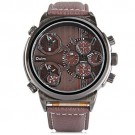 OYang Japan Quartz Watch 3-movt Round Dial Leather Watchband Watch Brown