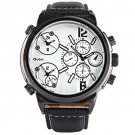 OYang Japan Quartz Watch 3-movt Round Dial Leather Watchband Watch White