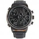 OYang Japan Quartz Watch 3-movt Round Dial Leather Watchband Watch Black