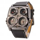 Oulm 1140 Men's Dual Time Zones Large Black Watch W/Compass/Thermometer/ Big 5cm Multi-Function Dial