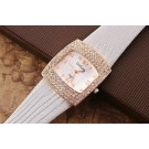 Elegant Square Face Crystal Casual Watch For Women Ladies - White Strap