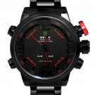 Weide Mens Red Theme Black Dial Dual Time Display Wrist Watch WH2309BR