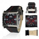Weide Mens Red Letter Dial Dual Time Display Automatic Quartz Leather Band Re...