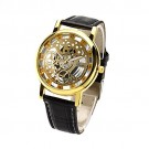OYang Non Mechanical Hollow Roman Numerals Leather Band Wrist Watch Golden Dial Watch Black