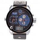 Big Style WEIDE Oversized XXL Army Men Steel Case Leather Band Sport Electric Wrist Watch - Blue Dial