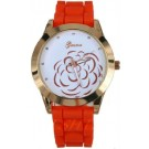 15 Color Women Ladies`s Geneva Gold Dial with Camellia Flower Pattern Silicone Wrist Watch (Red)