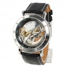 OYang Fashion Leather Men Classic Business Skeleton AUTO Mechanical Business Watch Black Band