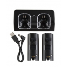 eForCity Dual Charging Station w/ 2 Rechargeable Batteries & LED Light for Wii Remote Control Black
