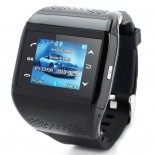 Q2 GSM Wrist Watch Phone w/1.3-inch Resistive Screen, Quad band, Camera And FM - Black